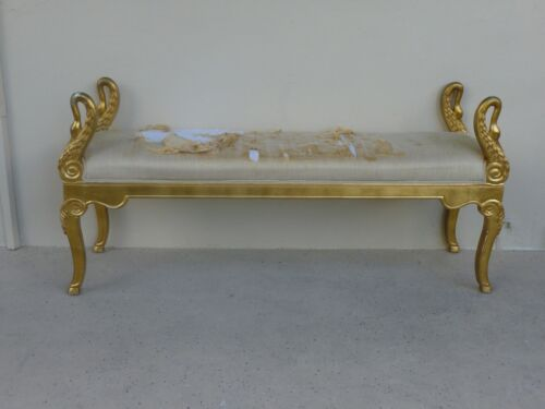 ELEGANT SHOW STOPPING FRENCH EMPIRE STYLE GOLD GILT SWAN BENCH