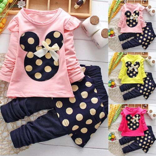 Toddler Kids Baby Girls Outfits Clothes T-shirt Tops+Pants Skirt Dress 2PCS Sets