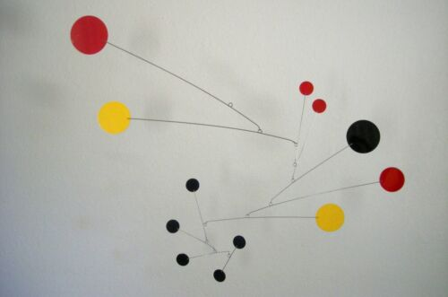 Red, Black and Yellow Mobile Mid-century Modern Sculpture Retro Hanging Art