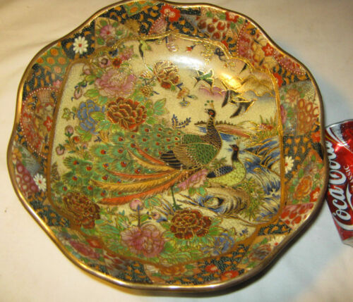 ANTIQUE ROYAL SATSUMA JAPAN ENAMEL PORCELAIN PEACOCK BIRD ART OIL PAINTING BOWL