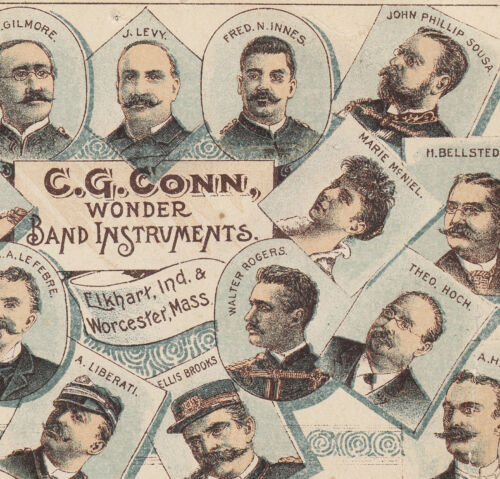 1890's C.G. Conn Band Instruments Elkhart Worcester Sousa Gilmore Levy Ad Card