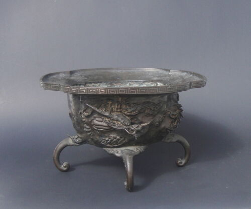 Antique Chinese Bronze Bowl with Dragon Signed