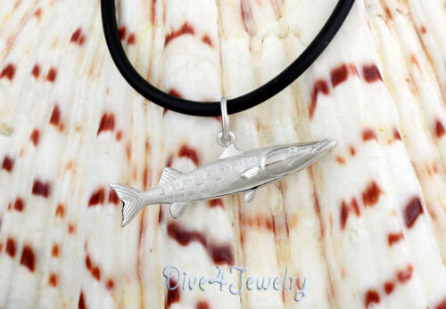 Sterling Silver 3D Barracuda Fish Pendant Necklace Fishing Sealife Sea Animal