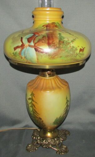 Antique GWTW Oil Lamp Hand Painted Americana Hunting Scene Electrified Beautiful
