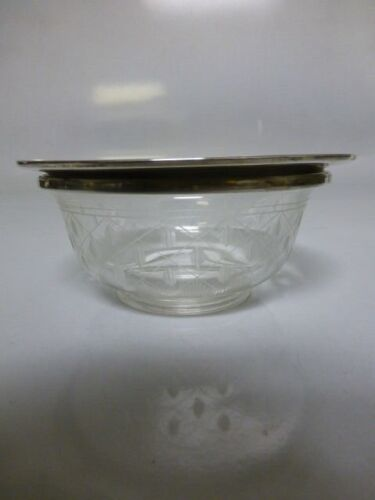 Vintage Shreve & Co. Sterling Silver Trim Bowl W/ Crystal Bowl #10956
