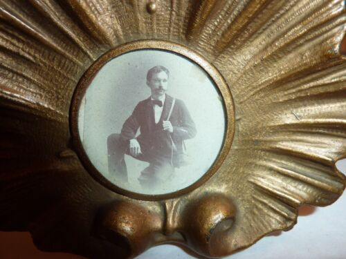 Small antique picture frame w/ old cabinet photo desk frame miniature