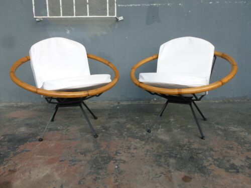 RARE MID CENTURY  FLYING SAUCER RITTS TROPITAN RATTAN AND IRON PATIO CHAIRS