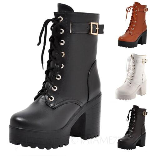 Block heel boots High heels Pretty Western buckle lace up Ankle shoes Size VANCY