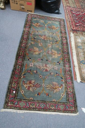 Antique Agra India Hand Knotted Wool Rug 2-6 x 5'-6' Early 1900's Birds Floral