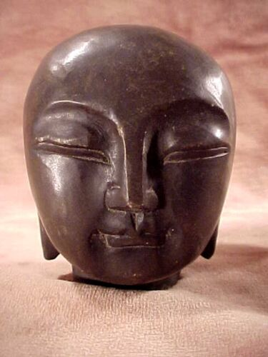 "Real Stone Head 3 1/2"" Carved Black Rock Bald Buddha Authentic Sculpture #A-5"