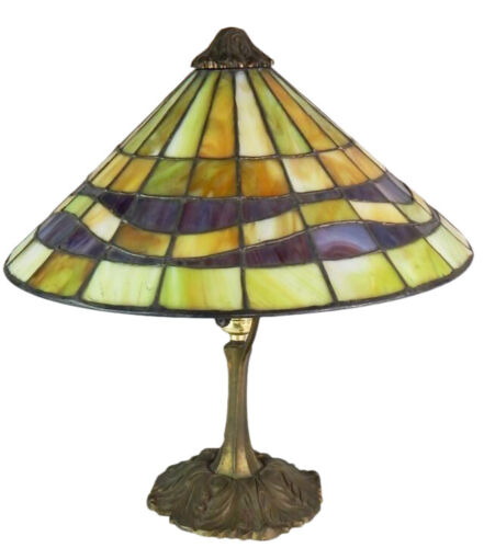 Gorham Leaded Glass Table Lamp Gilt Bronze Base Early 20th Century