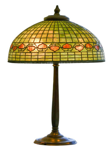 "Genuine  Tiffany Studios Acorn Lamp with Bronze Base Large 20'' diam. 30"" tall"