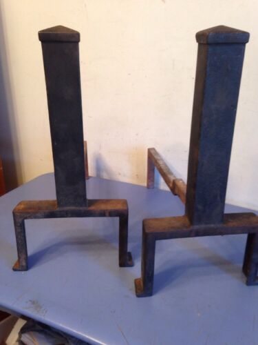 Pair Of Antique Arts & Crafts Style Andirons Signed P.S. & W Co