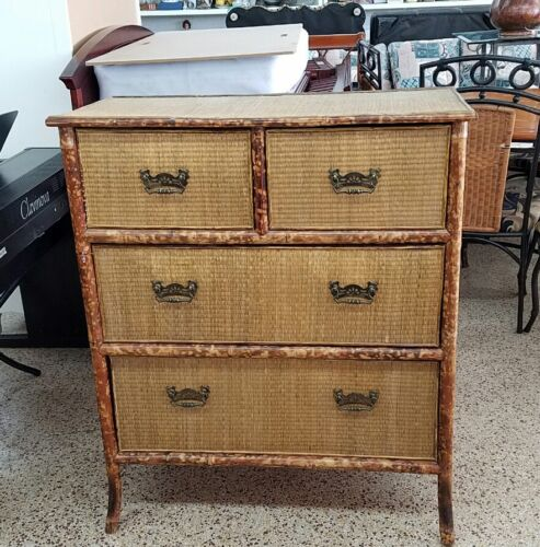 CHIC VICTORIAN TORTOISE SHELL BAMBOO CHEST OF DRAWERS A LA PALM BEACH
