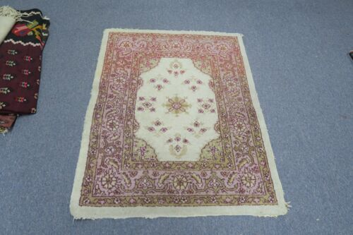 Antique India Agra Amritsar Oriental Hand Knotted Wool Area Rug 2'8 x 3'5