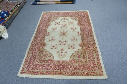 Antique India Agra Amritsar Oriental Hand Knotted Wool Area Rug 3'6 x  5'0