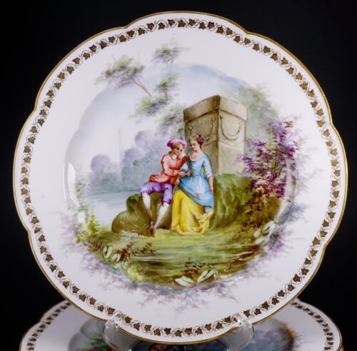 Set of 4 GORGEOUS Hand Painted Sevres Courting Lovers Scenic Porcelain Plates