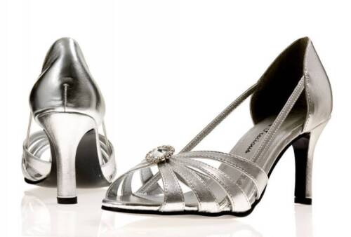 Ladies Silver Evening Prom Bridal Bridesmaid Party Shoes Leona All Sizes