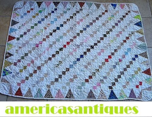 """VINTAGE SAWTOOTH IRISH CHAIN SMALL QUILT HAND PIECED HAND QUILTED 48"""" by 36"""""""