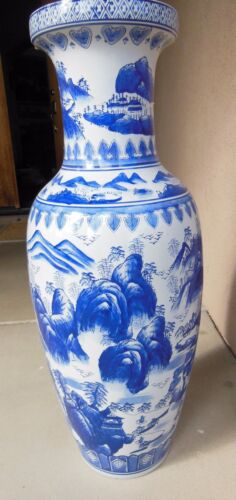 Ming Oriental Vase - Blue & White - 36 inches Tall