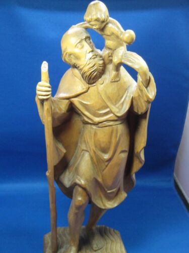 "Hand Carved Sculpture Saint Christopher w/baby 15"" x 5"" Made in Germany great"