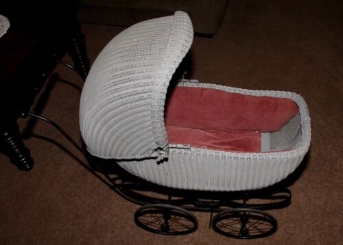 Vintage Antique Wicker Baby Pram Carriage Stroller Buggy Very Rare