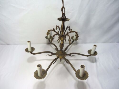 Vintage Chandelier Made in Spain 6 Arm Cast Brass Metal W/ Canopy Working Light