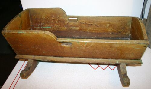 Vintage Antique Wooden Baby Cradle - Large Hand Made Antique Wooden Baby Cradle