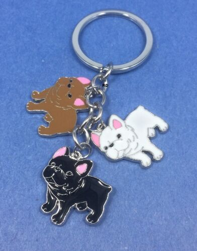 French Bulldog Lovers Key Chain or Purse Charm 3 Bulldogs 3Colors (CLEARANCE)