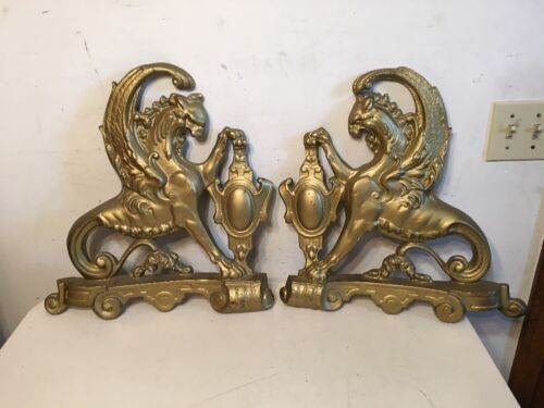 Antique Palace Size Winged Griffin Andirons Fronts Huge Possibly Bronze Brass