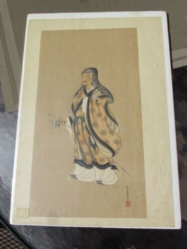 Antique Chinese fine hand painted on silk scholar nobel man warrior signed
