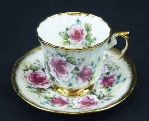 Elizabethan Jacobean Cup and Saucer Footed England Pink Roses Gold Bone China