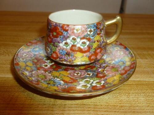 Vintage Asian Signed Hand Painted Intricate Flowers Gold Leaf Tea Cup Saucer
