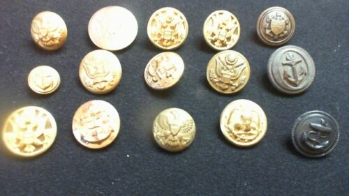 15 MOSTLY  MILITARY BUTTONS EAGLES, ANCHORS, COAT OF ARMS,  COLLECTION R8T3Other Militaria - 135