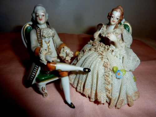 2 ANTIQUE MULLER VOLKSTEDT DRESDEN LACE man / WOMAN FIGURINE porcelain