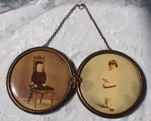 Antique Tin Convex Photo Celluloid Pin Ornate VICTORIAN DOUBLE FRAME Child Photo