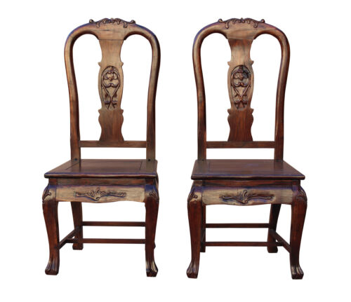 Pair Handmade Chinese Old Shanghai Design Redwood SuanZhi Rosewood Chair wk2601