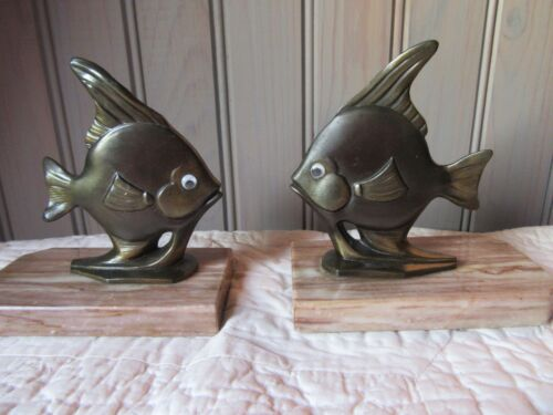 FRENCH ANTIQUE ART DECO REGULE MARBLE FISH BOOK ENDS