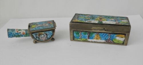Two Antique Desk Set Items From China~~Enamel Over Brass