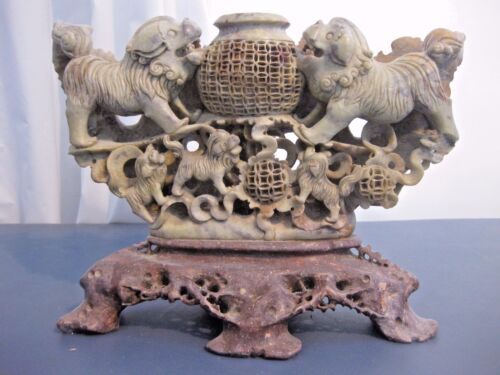 """LARGE ANTIQUE CHINESE CARVED SOAPSTONE FOO DOGS/INCENSE BURNER 9"""" x 12"""""""