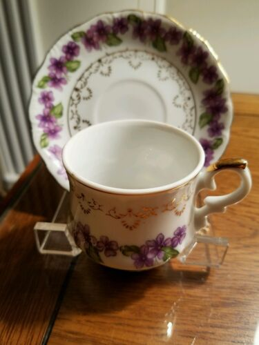 COLLECTIBLE INARCO DEMITASSE CUP AND SAUCER WITH VIOLETS PATTERN  - PORCELAIN