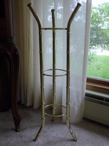 Vintage Brass Faux Bamboo Plant Stand HOLLYWOOD REGENCY MCM Mid Century Modern