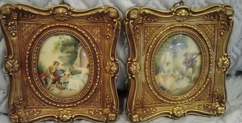 Vintage Fancy Gold Picture Frame SQUARE - Pic OVAL -  Italy Wall Hanging Art