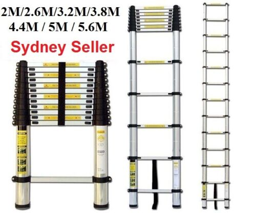 2/2.6/3.2/3.8/4.4/5/5.6 Telescopic Aluminium Ladder Extension Extendable Step <br/> BRAND NEW - TOP SYDNEY SELLER - SHIP FROM SYDNEY