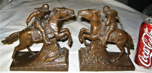 ANTIQUE JB THE PONY EXPRESS USA MAIL WESTERN HORSE ART STATUE SCULPTURE BOOKENDS