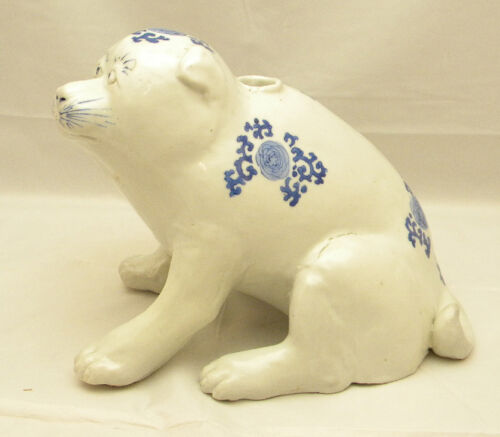 Rare Japanese ARITA blue & white Incense Burner - dog