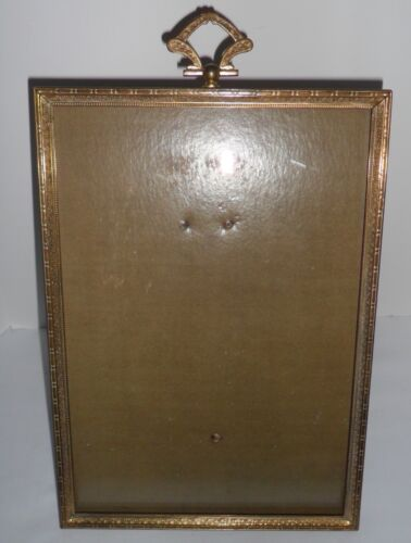 "Vtg Antique Ornate Flowers BRASS Metal Gold PICTURE Photo FRAME w Glass 10"" x 7"""