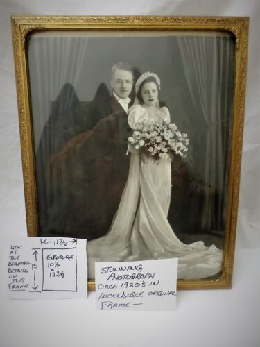 Antique 1920s Wedding Photograph in Stunning Brass Picture Frame Ornate Quality