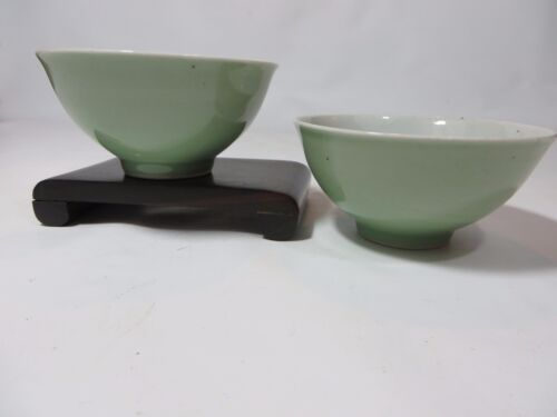 Rare Chinese antique celadon porcelain bowls with mark