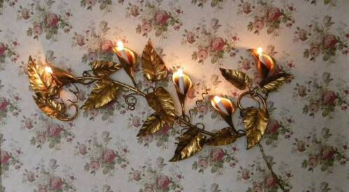 VTG Italian Florentine Tole~Hollywood Regency Calla Lily Wall Sconce Lamp~WOW!
